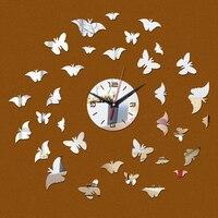 2017 настенные часы бабочки Лидер продаж DIY акриловые часы домашнего декора Гостиная зеркало искусства часы Специальное предложение