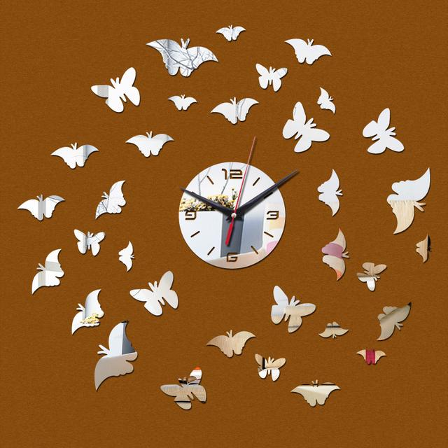 2017 wall clocks butterflies hot sale diy Acrylic clock home decor Living Room  mirror art watch  special offer