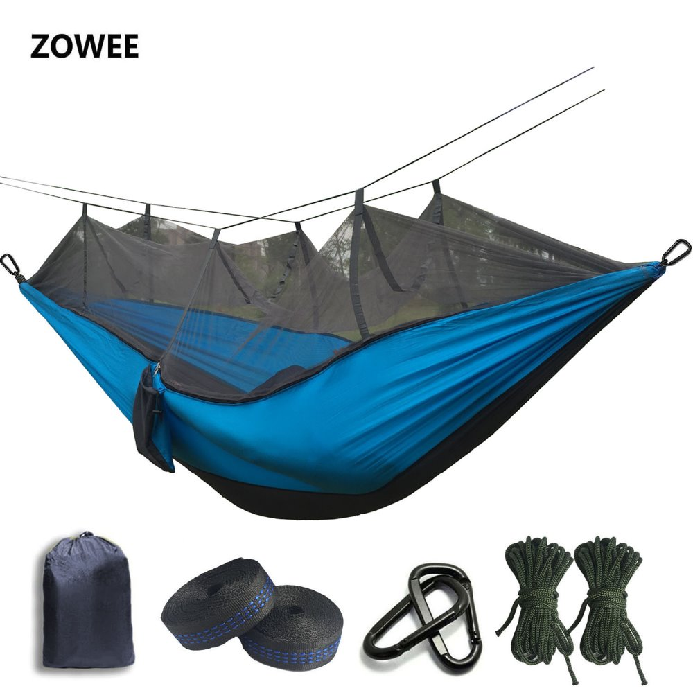 2020 210T Parachute Mosquito Net Hammock with Black Hooks for Outdoor Camping Tent Using sleeping Free shipping(China)