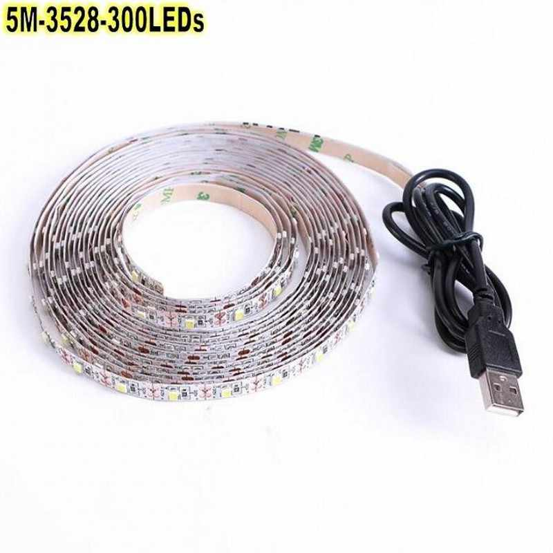 5V Usb Kabel Led Strip Licht Lamp Smd 3528 0.5 M 1 M 2 M 3 M 4 M 5 M 10 M Kerst Flexibele Led Streep Lichten Tv Achtergrond Verlichting