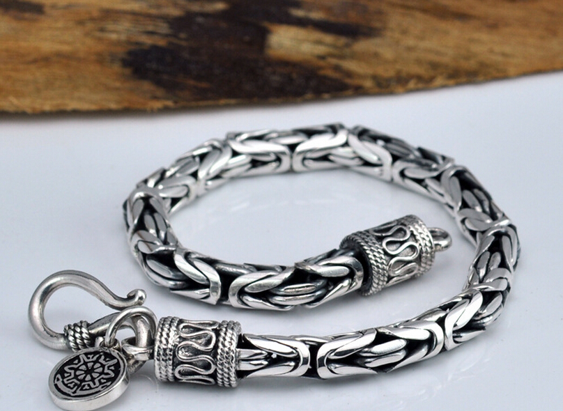 Thai silver jewelry 925 sterling silver Chain & Link bracelet fish scale cross bracelet jewelry 2018 thai silver jewelry 925 sterling silver men bracelet male domineering personality retro fashion chain link charm bracelet