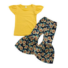 Summer Kids Clothes Sets  Girls Fashion Fly Sleeve Top+Printed Bellbottoms Pants 2Pcs  Children Clothing недорого