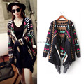 Europe And American Ethnic Style 2016 Autumn Winters  Colorful Geometric Tassel Shawl Knit Cardigan Coat Free Shipping