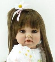 20 inch 50 cm Silicone baby reborn dolls Children's toys white flower dress beautiful girl