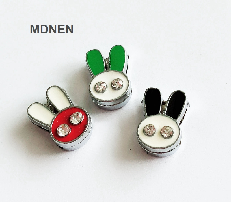 CCOR 30-100pcs zinc alloy 8mm 9MM*13MM Two Rhinestone Rabbit Head Slide Charm Bead DIY 8MM Dog Cat Collar Wristband