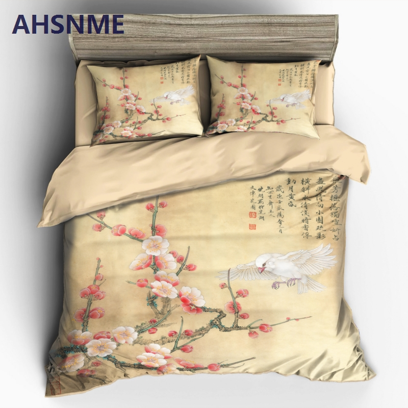AHSNME Chinese Ink Painting Spring Plum Duvet Cover Sets 100% Microfiber Bedding Set 3pcsAHSNME Chinese Ink Painting Spring Plum Duvet Cover Sets 100% Microfiber Bedding Set 3pcs