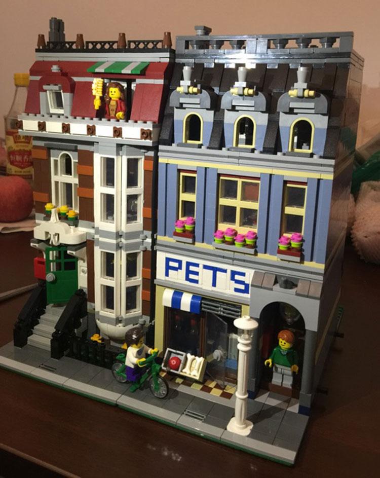 Oyuncaklar ve Hobi Ürünleri'ten Bloklar'de 15009 Streetview serisi Pet Mağaza Süpermarket Model Şehir Yapı Taşları Tuğla Eğitici Oyuncaklar Doğum Günü hediyeleri 10218'da  Grup 2