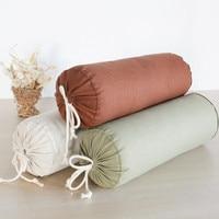 Cotton and linen neck candy pillow cervical siesta round pillow 45cmx16cm white