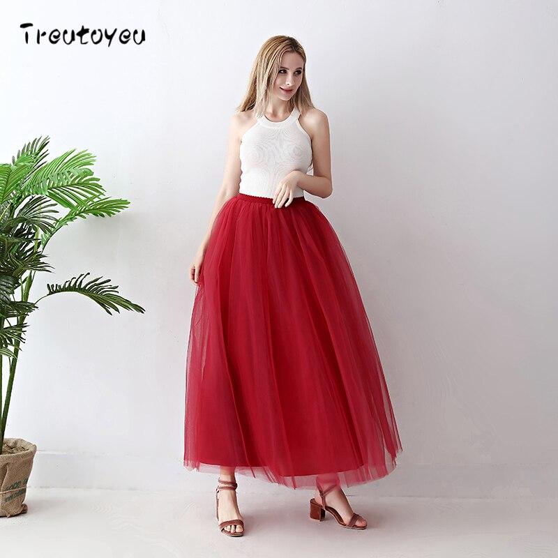 36627ce68 Faldas largas de tul de 5 capas de calidad para mujer Falda plisada Borgoña  Boda nupcial dama de honor falda faldas saias femininas jupe