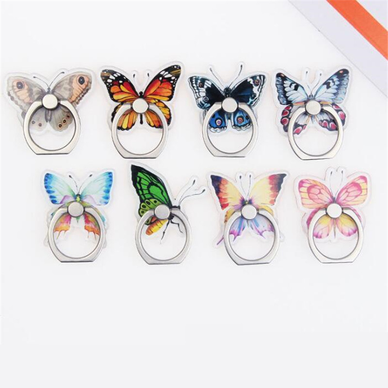 UVR Cartoon Butterfly Insect Phone Stand Mobile Finger Ring 360 Degree Rotation Holder For IPhone X 7 Plus Samsung Xiaomi
