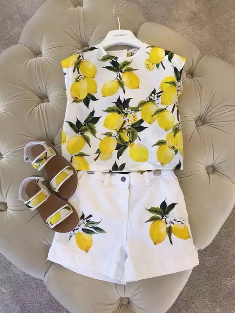 2016 new girls summer  suit little girl clothes sunshine lovely clothes Lemon printing
