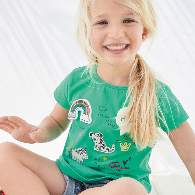Girls' Cotton T-Shirt with O-Neck