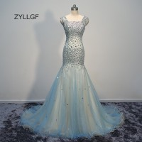 ZYLLGF Luxury Crystal Beaded Evening Long Gown Mermaid Sparkle Women Evening Wear Imported Party Gown Custom Made Q69