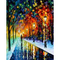 Landscape Oil painting pictures frozen night II palette knife canvas wall art modern home decor