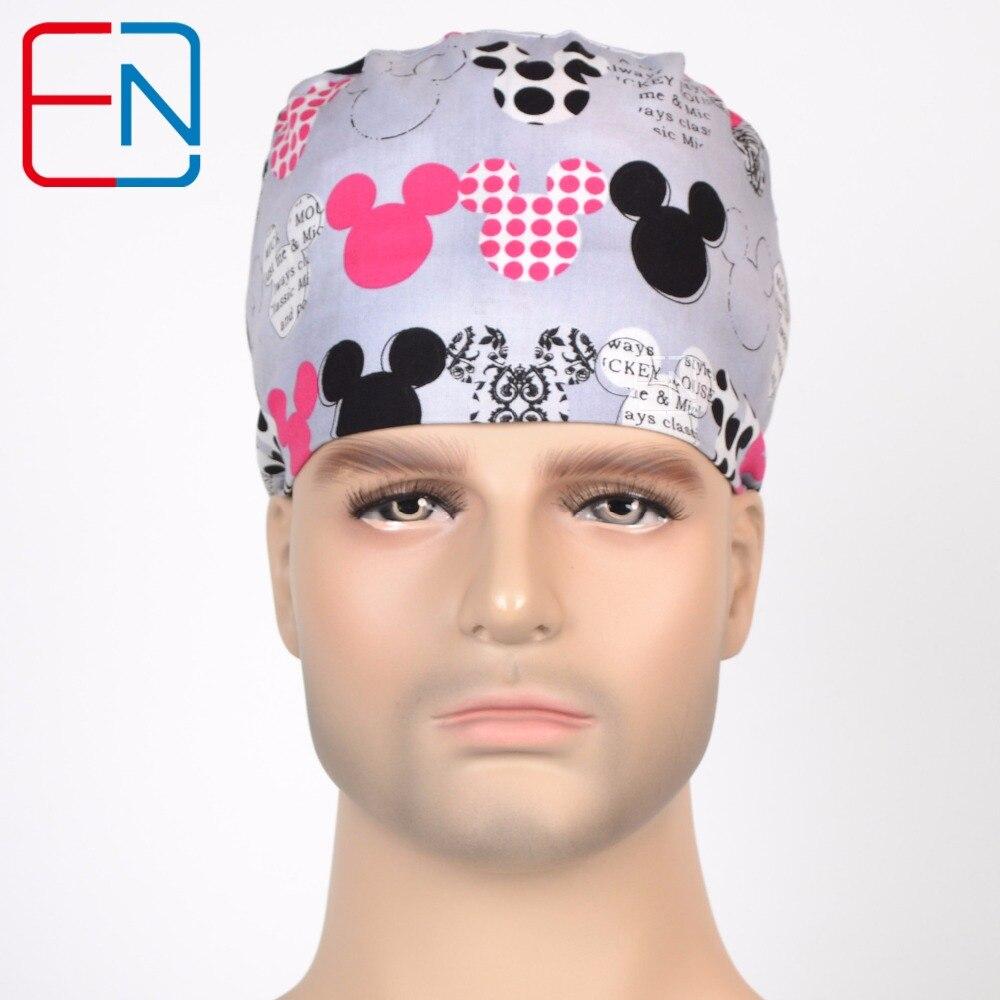 Hennar Hospital Pet Clinic Cap Mask Män Doktor Grå tryck Bomull Kirurgisk Scrub Cap Justerbar Hög kvalitet sjuksköterska Scrub Hat Mask