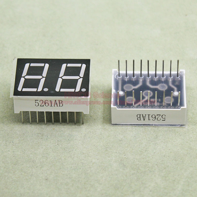 (10pcs/lot) 18 Pins 5621AB 0.56 Inch 2 Digits Bits 7 Segment Blue LED Display Common Cathode Digital Display