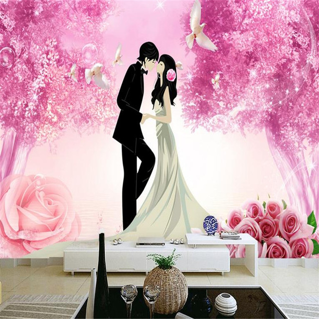 3d effect modern custom photo wallpaper large lovers romantic pink ...