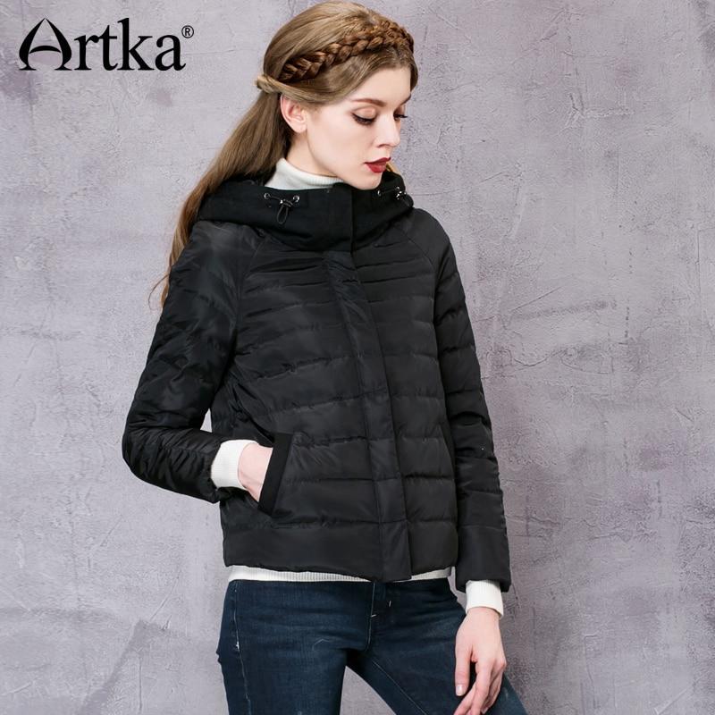 ARTKA   Down     Coat   Women Woolen Hooded Windbreaker Black Patchwork Raincoat Warm Parka Female 2018 New Arrival Jacket   Coat   DK10062D