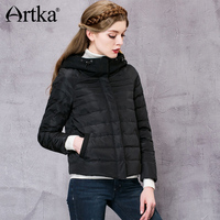 Artka Down Coat Women Woolen Hooded Windbreaker Black Patchwork Raincoat Warm Parka Female 2017 New Arrival