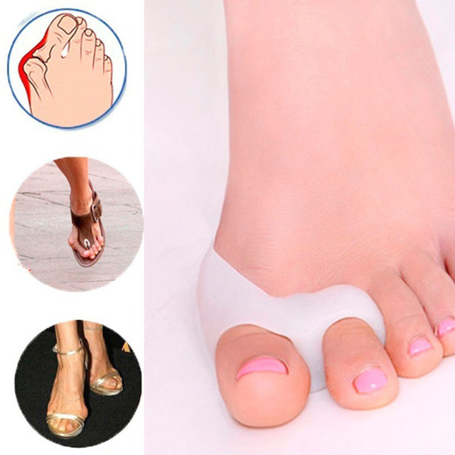 2pcs Toe Separator Special Valgus Bicyclic Thumb Orthopedic Braces To Correct Daily Silicone Toe Big Bone Foot Care Tool H7JP 1