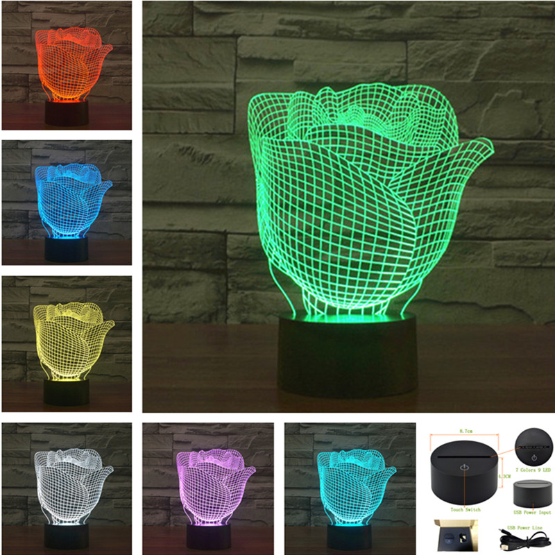 AUCD LED Roses Night Light USB Touch Swtich /Remote Valentine Gift Birthday Holiday Wedding Bedroom Ambient lights -3D-TD260