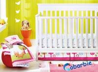 8 шт. Новорожденные девушка кроватки постельных принадлежностей, детская спальня постельные принадлежности, кроватка постельное белье из х