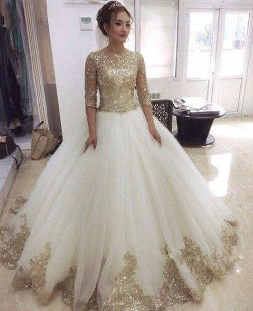 Gold Lace Half Sleeve Ball Gown Vintage Wedding Dress ...
