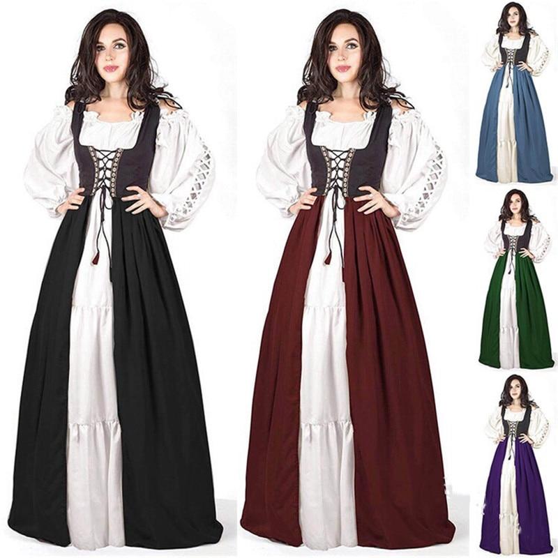 Medieval Vintage Tunic Women Dress Renaissance Ankle-Length Dress Costume Cosplay Party Elegant Vin