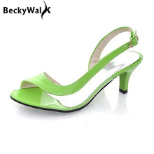 New Women Summer Shoes Candy Color Jelly Shoes Women Sandals Middle Heel Office Ladies Shoes Woman Plus Size Shoes 34-43 WSH2040