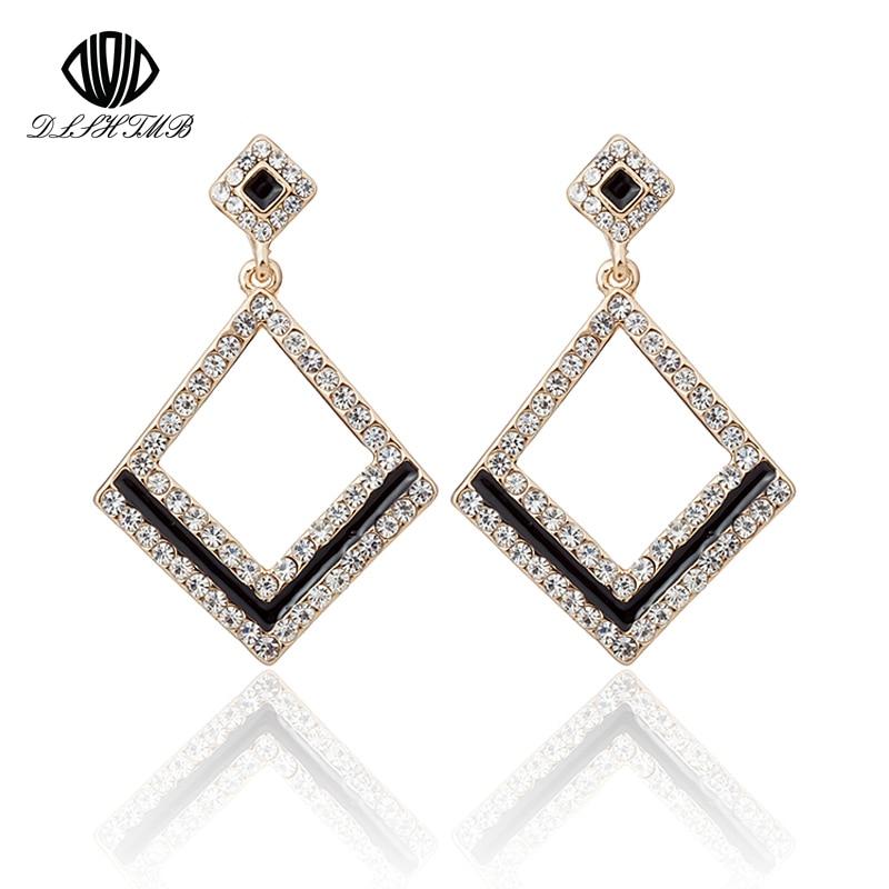 f4481247dbba Nueva marca de moda joyería vintage plata cristal cuadrado geométrico  Pendientes para las mujeres