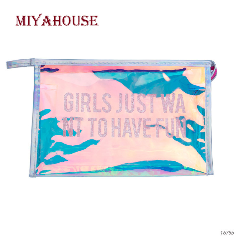 Miyahouse Laser Make Up Bag Women Cosmetic Bag Transparant Waterproof PVC Material Travel Makeup Pouch Lady Organizer Toiletry