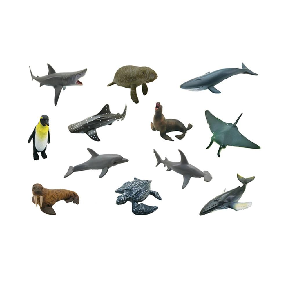 2019 12PCS Plastic Simulation Marine Animals World Puzzle Learning Toy Figures Model kids toys игрушки#G20