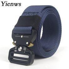 Yienws Men Belts 200cm Canval Nylon Tactical Plus Size Cinto Militar 150cm Belt Black Outwear Riem Heren Wid 3.8 YIB33
