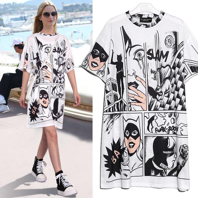 New 2018 Dress Style Summer Women White Cotton Dress Half Sleeve Robot Cartoon Printed Girls Cute Wear Straight Midi Dress 2404