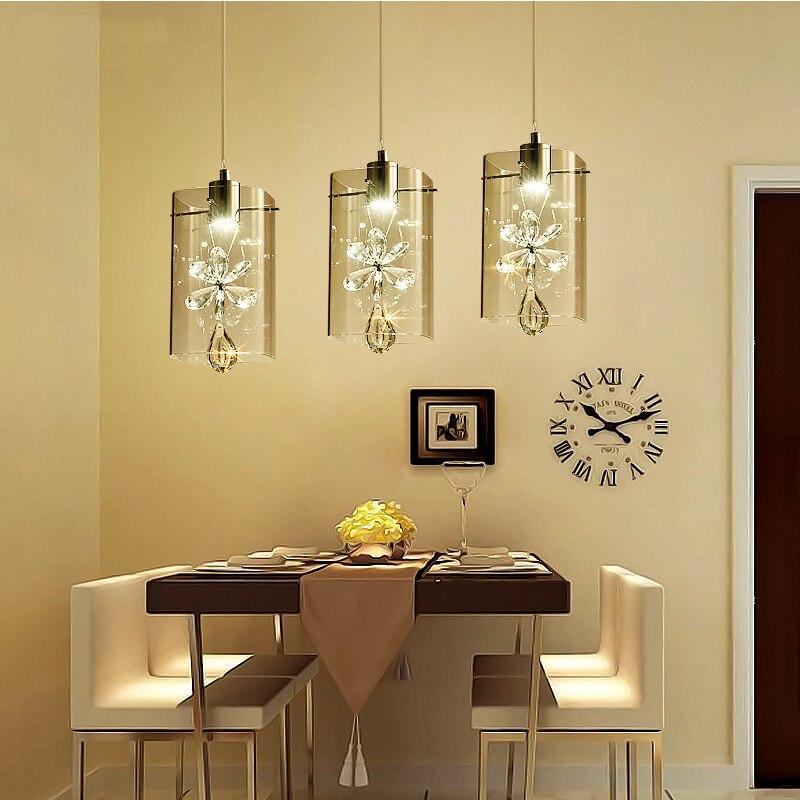 US $130.5 10% OFF|Mode Glas Design Lampe Wohnzimmer Schlafzimmer 1/3/5/6  Köpfe Anhänger Lampe Design Bar LED licht Design Lampen mit Kristallen-in  ...
