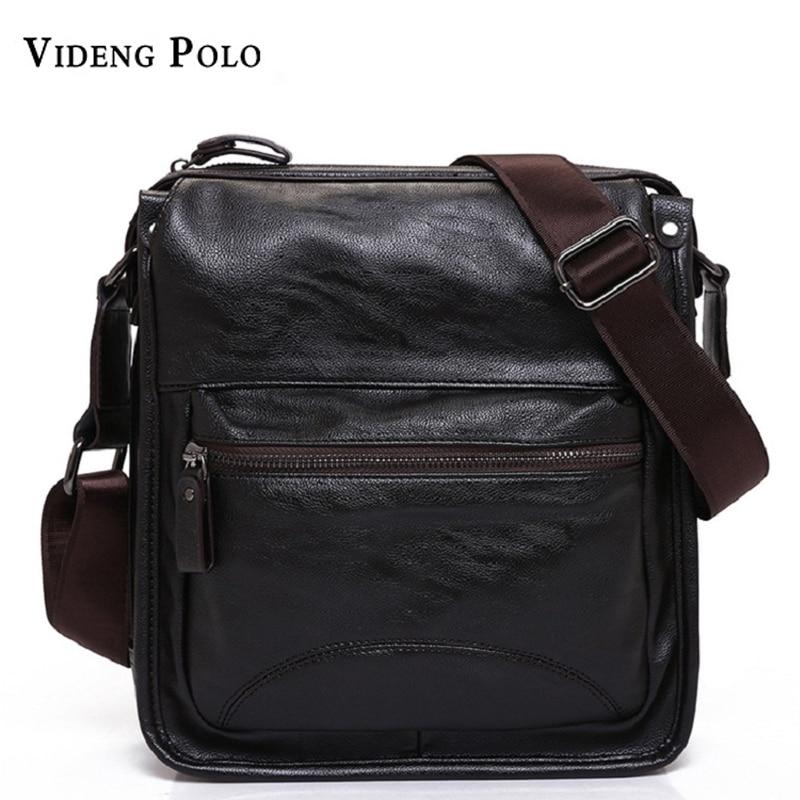 New Casual Business Leather Mens Messenger Bag Hot Sell Famous Brand Design Leather Men Bag Vintage Fashion Mens Cross Body Bag
