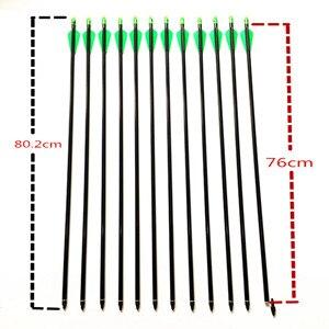 Image 3 - 6/12/24 adet 32 inç fiberglas ok 30/40LBS ile olimpik yay değiştirilebilir Arrowhead Longbow avcılık için okçuluk