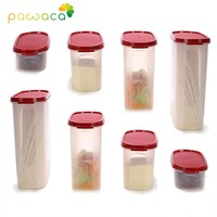 8pcs Set Food Grade Plastic Storage Boxes with Lid Oval Sealed Cans Containers for Kitchen Refrigerator Cabinet Freezer