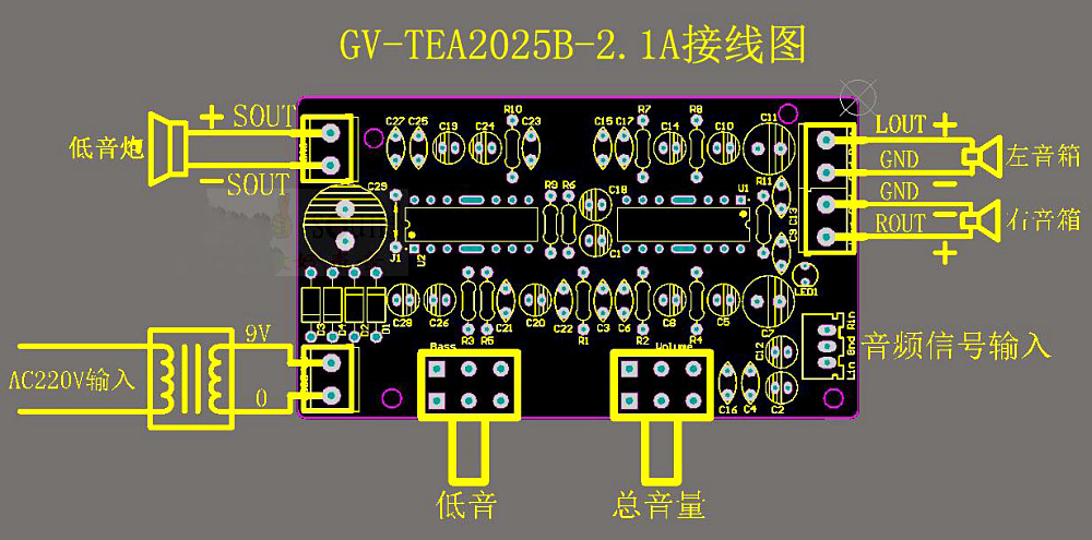 2000w power amplifier circuit diagram wiring for window ac unit i m yahica tea2025 amplifire with 9v tea2025b subwoofer board 2 1puter speaker
