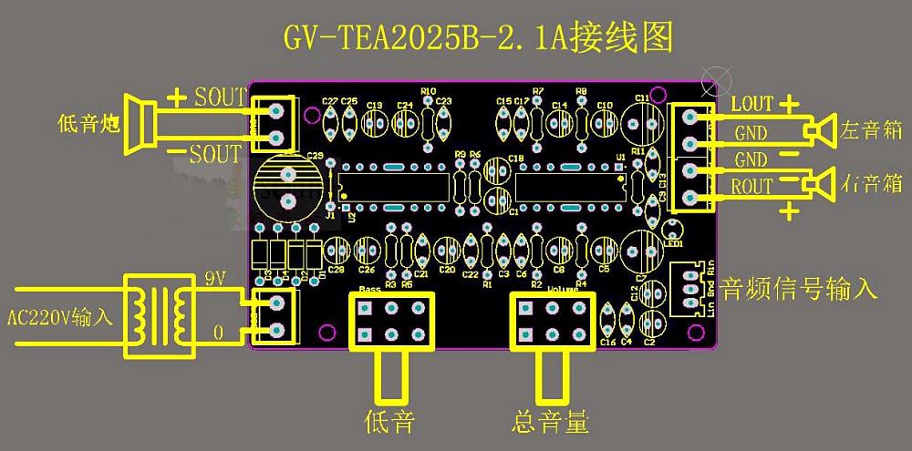 2000w power amplifier circuit diagram vintage telecaster wiring i m yahica tea2025 amplifire with 9v tea2025b subwoofer board 2 1puter speaker