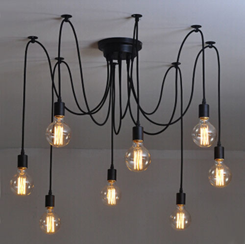 Modern net Retro classic chandelier 8 E27 spider lamp pendant bulb holder group Edison diy lighting lamps messenger wire diy vintage lamps antique art spider pendant lights modern retro e27 edison bulb 2 meters line home lighting suspension