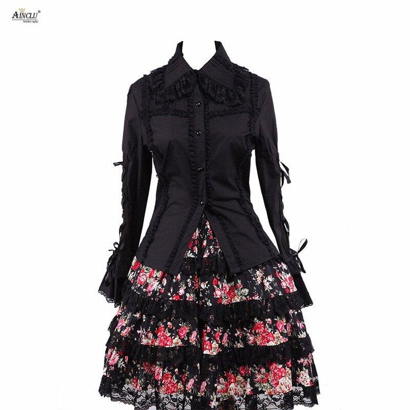 Ainclu vente chaude femmes manches longues Punk classique Lolita tenues, y compris Blouse noire et jupe d'impression décontracté/fête