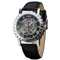 WINNER Vintage Men Women Unisex Mechanical Watch Leather Band Roman Number Gear Bezel Cool Design Wristwatch Lover's Gift + BOX