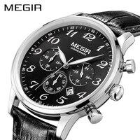 MEGIR جلدية فاخرة الأعمال ووتش الرجال أعلى العلامة التجارية الأزياء كرونوغراف الجيش العسكرية المعصم الساعات ساعة الرجال Relogio Masculino