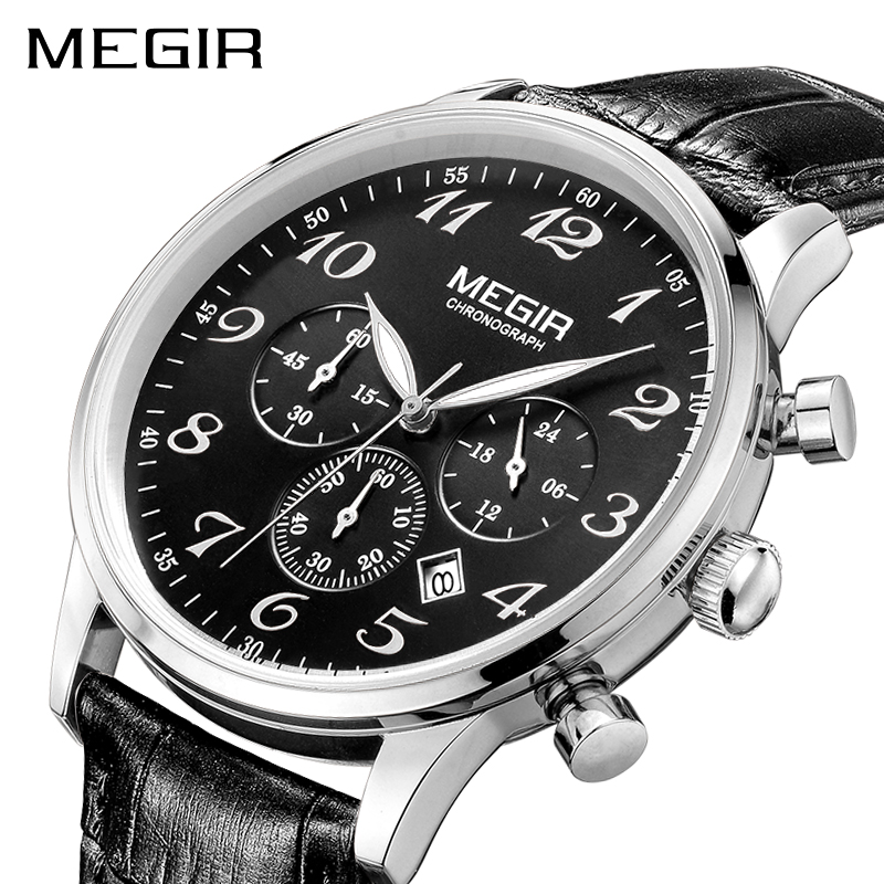 MEGIR Luxury Leather Business Watch Men Top Brand Fashion Chronograph Army Military Wrist Watches Clock Men Relogio Masculino купить недорого в Москве