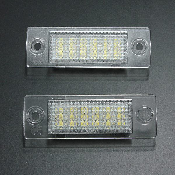 2x License Number Plate Light Lamp 18-LED For VW Caddy Transporter Passat Golf Touran Jetta For Skoda No Error new led license number plate lights for vw t5 passat 3c b6 caddy touran jetta golf plus no error