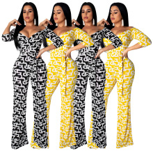 2019 Summer women print neckline plunging v-neck high waist belts overalls three quarter sleeve jumpsuit romper 2 color