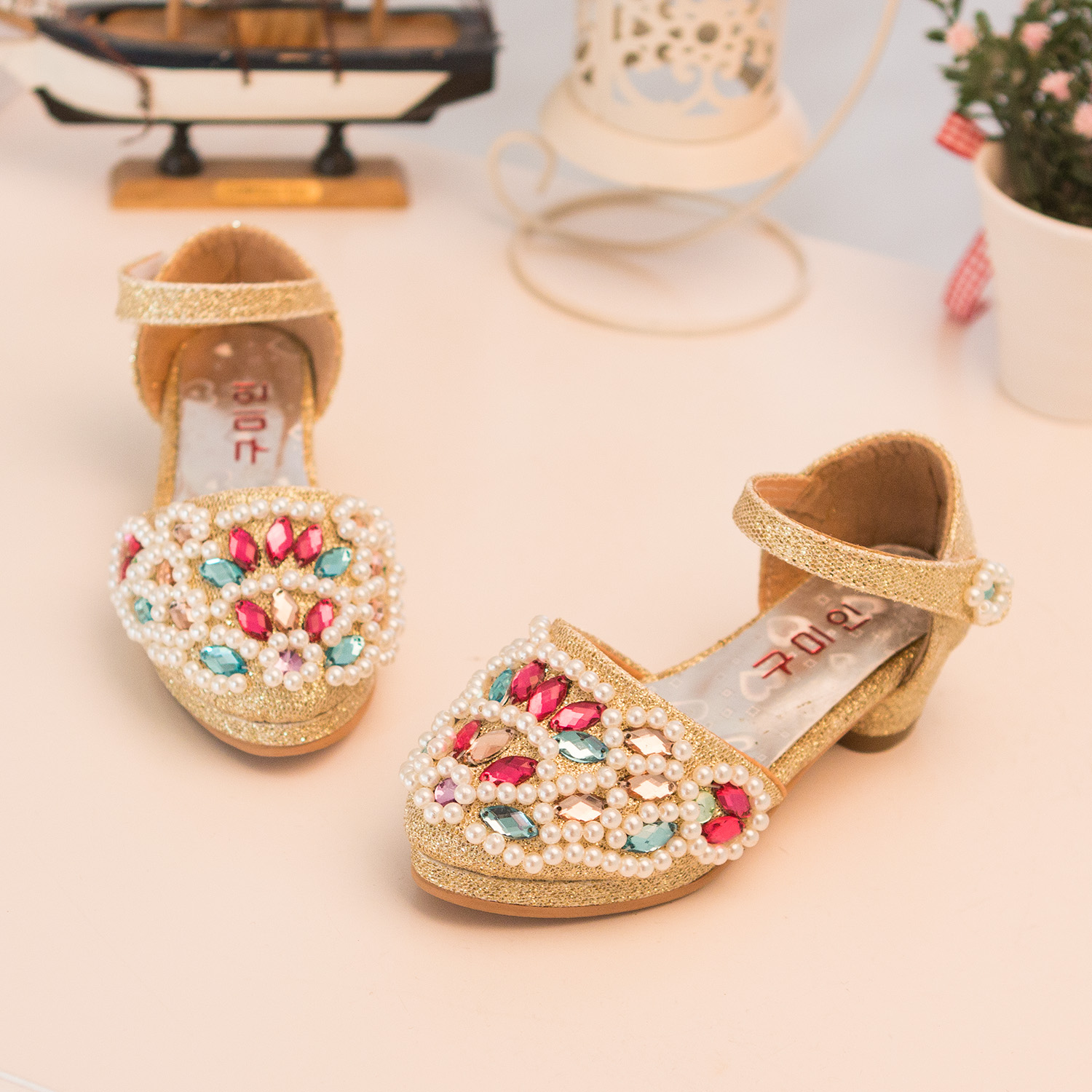 High quality 2015 children princess shoes girls toe cap covering