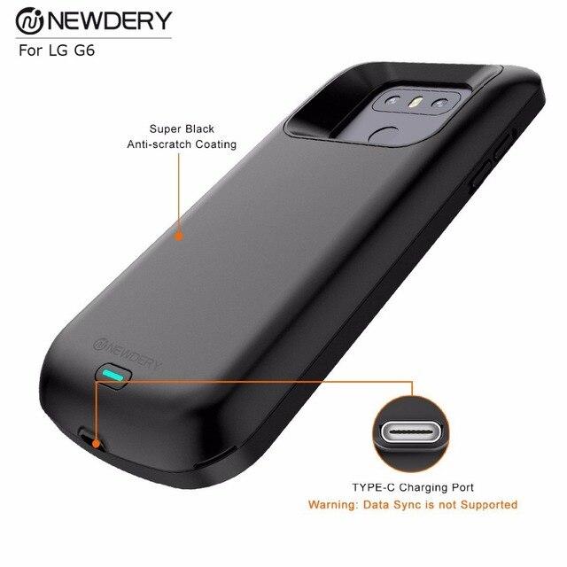 Chargeur de téléphone mince étui pour LG G6/G6 + haute capacité batterie couverture de charge sortie 5V/2A étui pour LG dalimentation g6 Plus noir