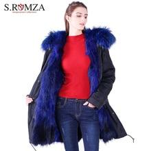 S.ROMZA New Large Raccoon Real Fur Parka Coat Women Long Jacket Waterproof Winter Fur Coat Collar Detachable Hooded Parka